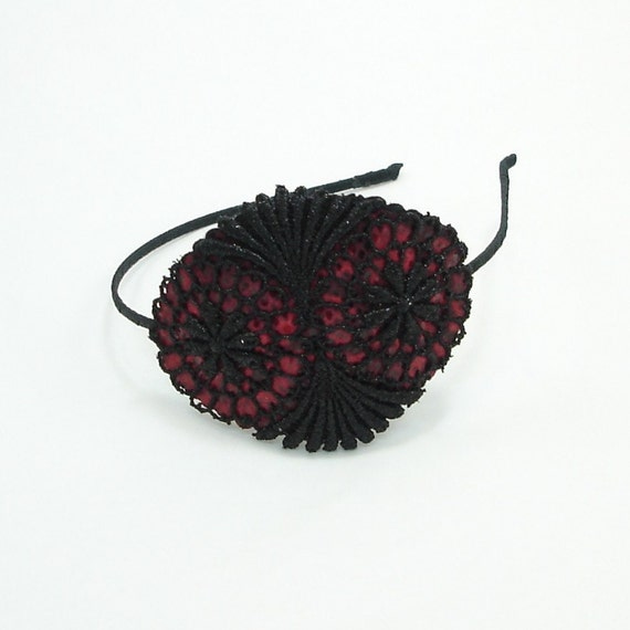 Handmade Headband - Red Leather and Black Lace