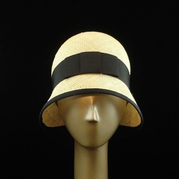 New Cloche Hat for Women 1920s Fashion Hat Natural Straw Hat w Black Ribbon