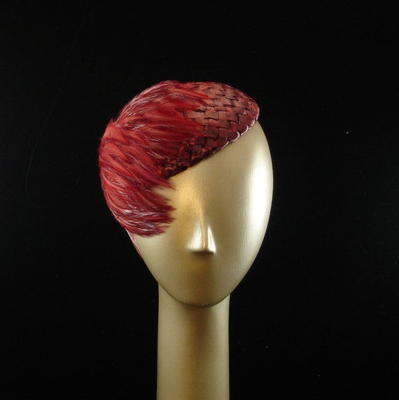Cocktail Hat Blood Red Straw Hat w Red Feathers  Large
