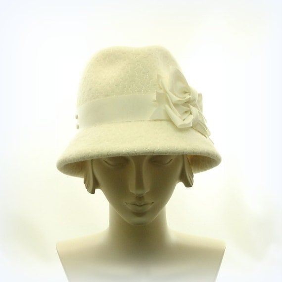 Items similar to Winter White Fedora Hat for Women on Etsy