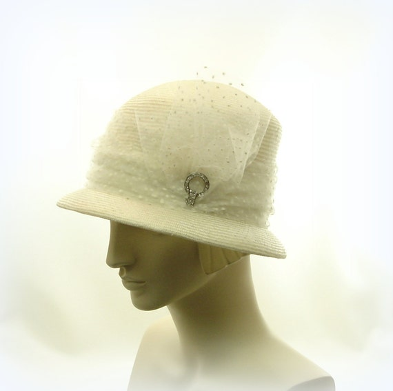 White CLOCHE Hat for Women - 1920s Fashion Straw Hat