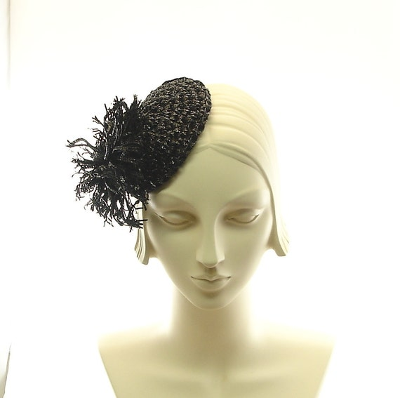 Shiny Black Fascinator - Black Cocktail Hat for Women - Crochet Straw Braid Tilt Hat