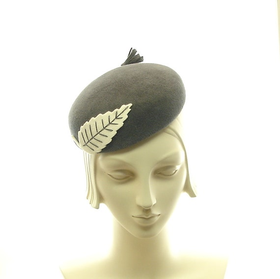 Dress Hat for Women - Gray Cocktail Hat - 1940s Fashion Hat - Charcoal Gray Felt Hat