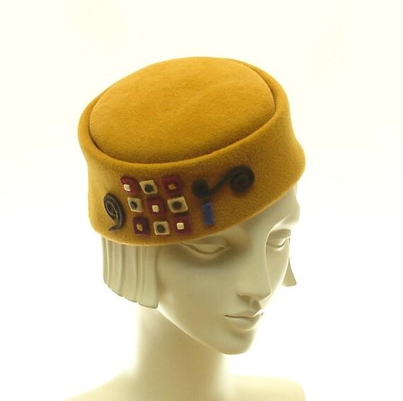 Gustav Klimt Pillbox Hat - Adele  Bloch Bauer - Golden Fur Felt Pillbox Hat