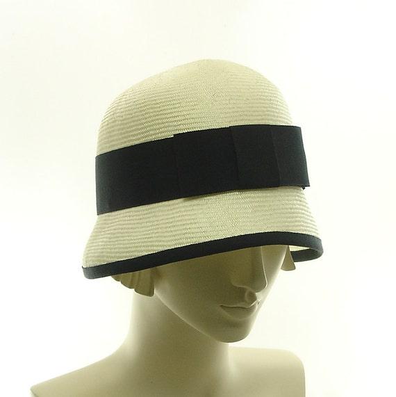 White Cloche Hat for Women - As Seen In BRIDES Magazine June 2012 - Vintage Style Fashion Hat - White Straw Hat