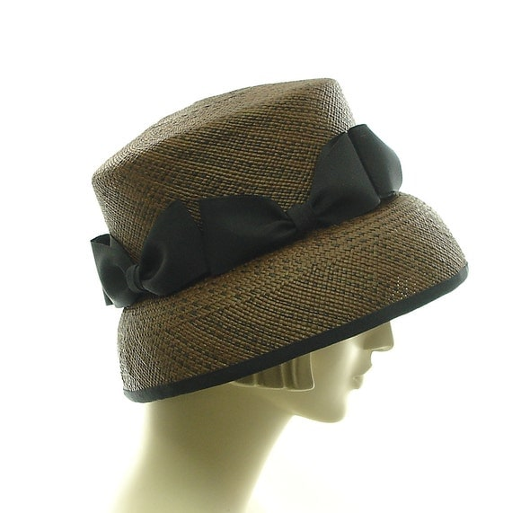 Cloche Hat for Women 1920s Fashion Hat Panama Straw Hat in Brown with Black Bows