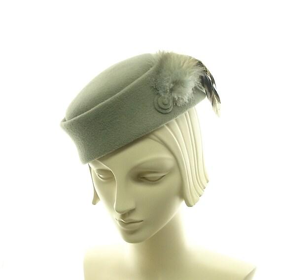 Gray Pillbox Hat for Women - Handmade Vintage Fashion Hat