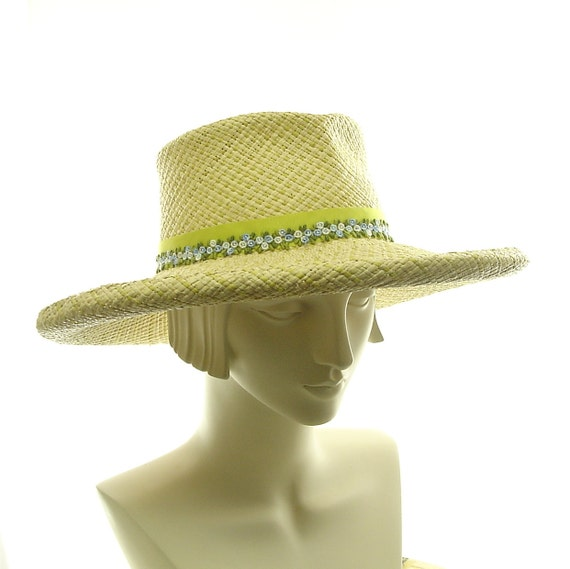 Lime Green Sun Hat for Women - Wide Brimmed Hat - Natural Panama Straw Hat