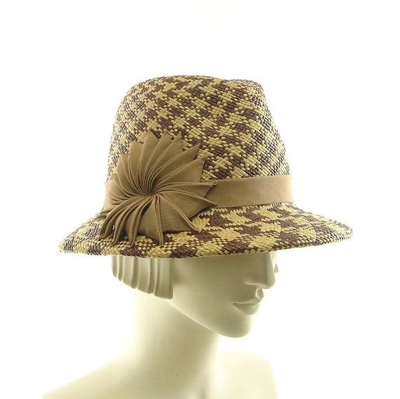 Plaid Womens Fedora Hat - Panama Straw Hat - Coffee and Caramel