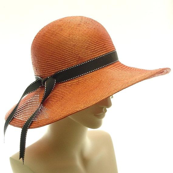 Orange WIDE BRIM HAT for Women / Sun Hat / Straw Hat Handmade by Marcia Lacher Millinery