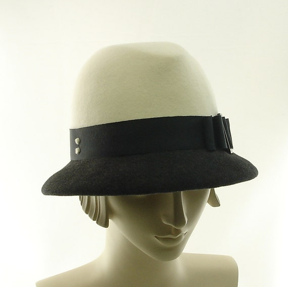 Art Deco Felt Fedora Hat for Women - VIntage Style Hat - Winter White & Charcoal Gray