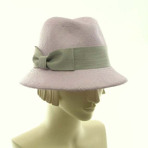 Straw Fedora Hat for Women - Pink Hat - Straw Hat - Gray Ribbon Hatband