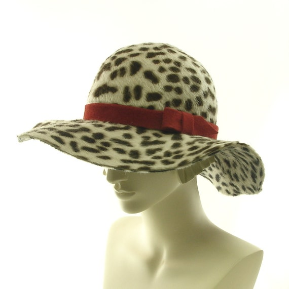 Beaver Felt Hat - Wide Brim Hat for Women - Floppy Hat - Leopard Print Hat - Animal Print Hat