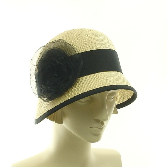 Cloche Hat for Women - Downton Abbey Fashion Hat - Natural Straw - size Large - Black Ribbon - Black Flower