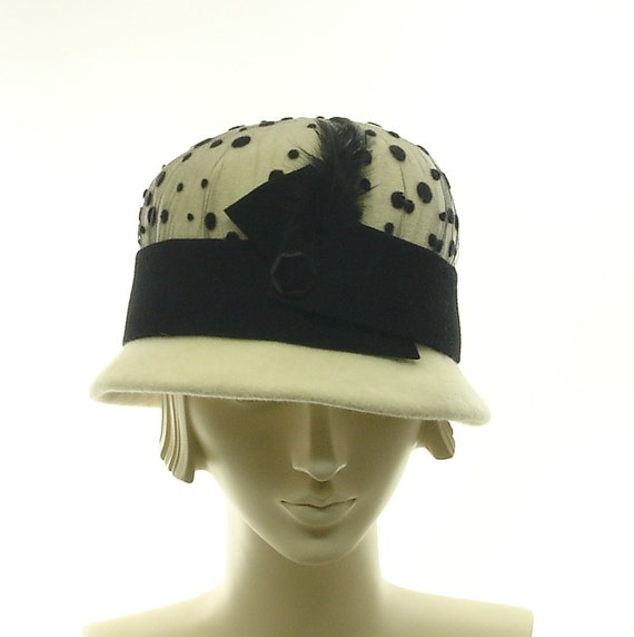 Winter White Cloche Hat for Women - Downton Abbey Style Hat -  Fur Felt Hat - Black & White Hat