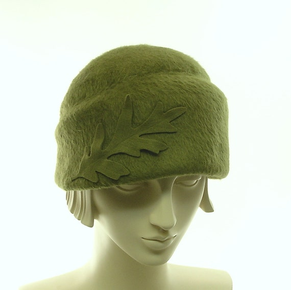 Moss Green Cloche Hat for Women - Handmade Beaver Felt Hat