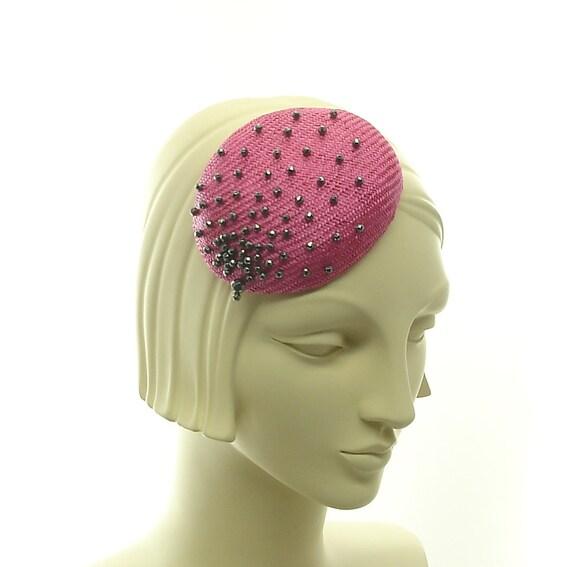 Pink Fascinator Hat for Women - Hematite Beads