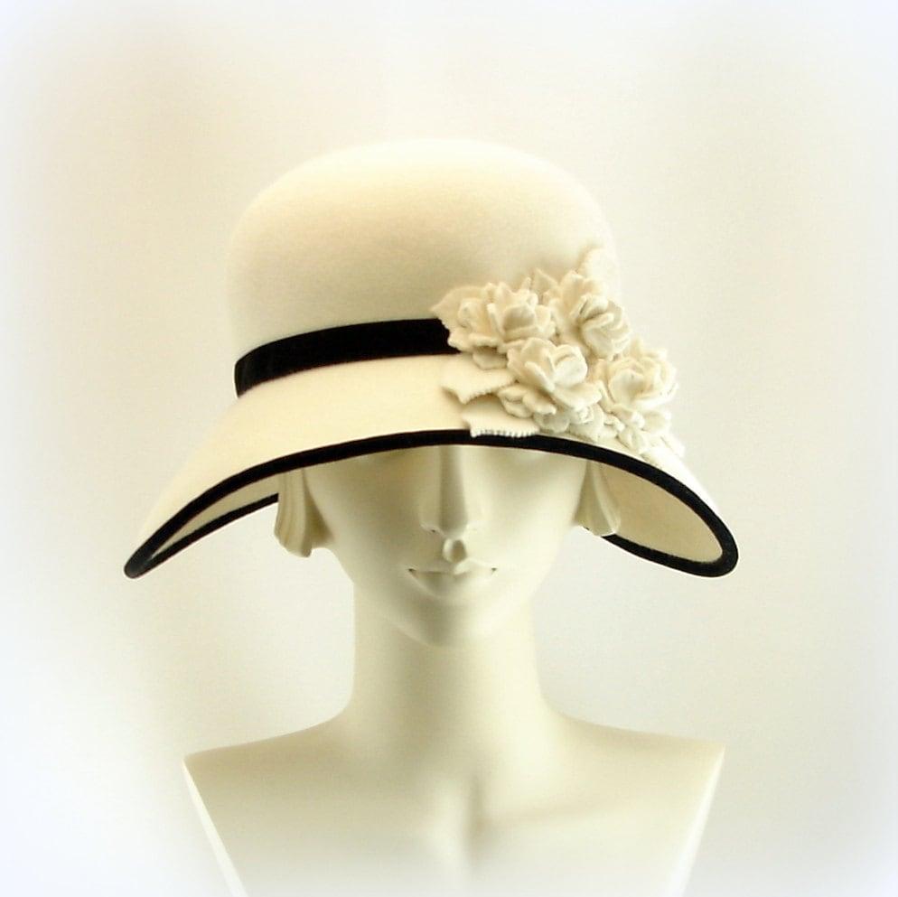 white hat for women large wide brim hat 1920s fashion cloche