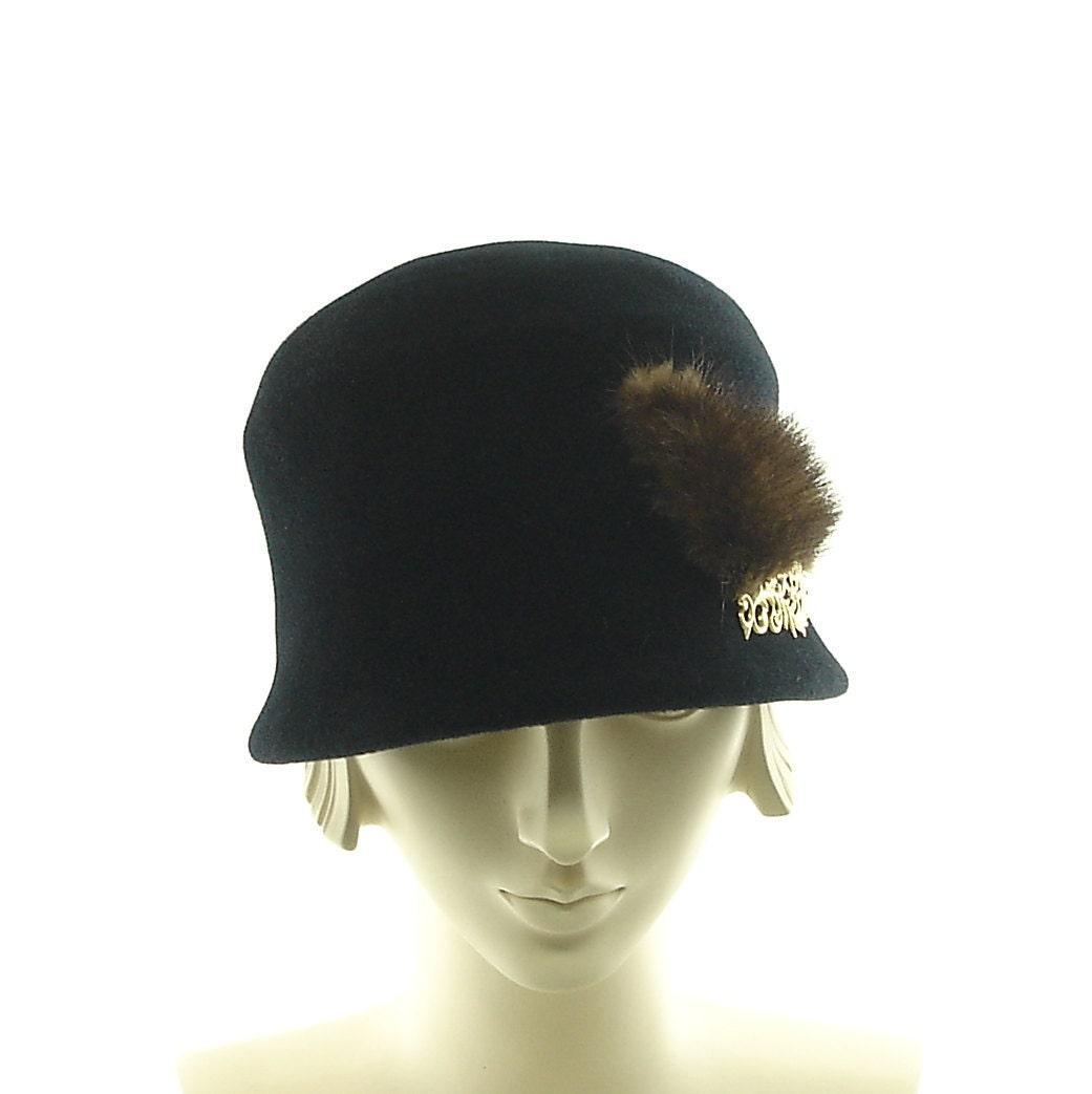 black cloche hat for 1920s fashion hat mink trim
