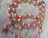 3 Pink Freshwater Pearl Bracelet  Shabby Chic Bride Shabby Chic Jewlry Pink Pearl Necklace