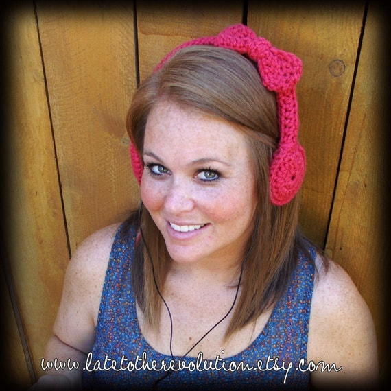 Rouge Bow Crocheted Headphones