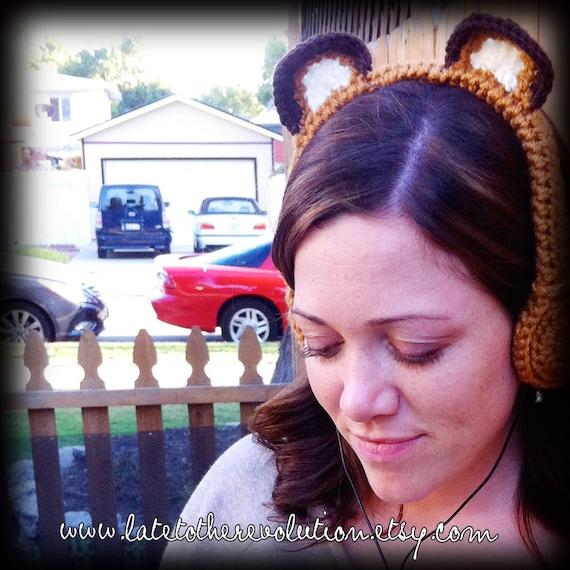 Sun Bear Crocheted Headphones