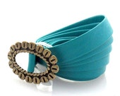 Turquoise Skinny Belt With Brass Buckle