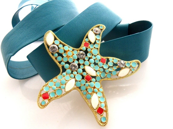 Turquoise Belt with Sea Star Buckle