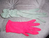 Two Vintage Pair of Gloves Red Olive Rusched 50s Ladylike Spring