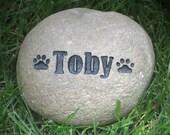 Custom Stone Pet Memorial for Dog or Cat Grave Marker 5-6 Inch Memorial Pet Stone Burial Grave Marker