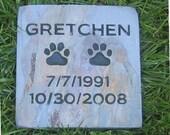 Personalized Pet Memorial Pet Grave Marker Stone 6 x 6 Slate Pet Stone Headstone Burial Cemetery Marker