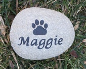 Personalized Pet Memorial Stone for Dog or Cat Grave Marker 3-4 Inch Memorial Pet Stone