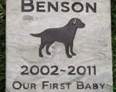 Personalized Pet Memorial Grave Stone Marker Labrador Retriever 6 x 6 Inch Burial Pet Stone Memorial Marker & Other Breeds