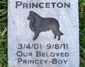 Personalized Pet Memorial Stone 6 x 6 Inch Pet Memorial Headstone Grave Marker Pet Stone Sheltie & Other Dog Breeds