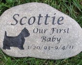 PERSONALIZED Stone Pet Memorial West Highland Terrier 10-11 Inch Pet Memorial Stone Headstone Tombstone Gravestone & Other Dog Breeds