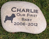 Personalized Dog Memorial Pet Stone Pug Pug Headstone Burial Memorial Stone Marker 9 - 10 Inch & Other Breeds