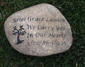 Personalized Memorial Stone - Memorial Stone Rock for Friend Child Family Member Memorial Tree Marker 11-12 Inch Memorial Stone