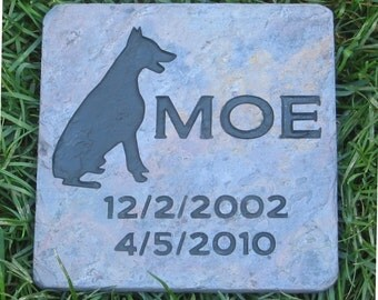 Personalized Pet Stone Marker Memorial Burial Grave Marker Doberman or Any Breed 6 x 6 Slate Headstone