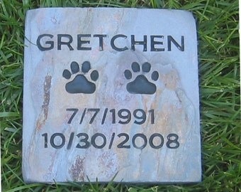 Personalized Pet Memorial Pet Grave Marker Stone 6 x 6 Slate Pet Stone Headstone Burial Cemetery Marker