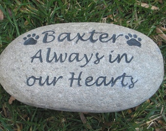 Personalized Dog Cat Pet Memorial Stone Rock Grave Marker 8-9 Inch Garden Memorial Stone