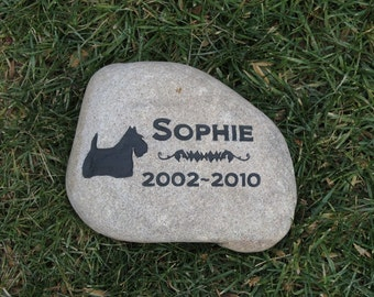 Personalized Dog Memorial Stone Scottish Terrier and Other Breeds - Scottie Memorial Grave Stone Marker 8-9 Inch