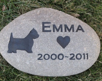 Personalized Pet Stone Memorial Grave Stone Garden Marker Westie 8-9 Inch Memorial Burial Stone Grave Marker & Other Dog Breeds