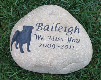 PERSONALIZED Pug Memorial Stone Grave Marker Pug Memorial 9-10 Inch Burial Headstone Grave Marker & Other Breeds