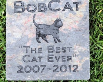 Personalized Cat Memorial Stone Grave Marker 6 x 6 Inch Cat Memorial Headstone Burial Gravestone Marker