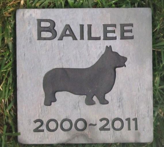 Custom Dog Grave Marker Headstone Memorial Stone Corgi & Other Breeds 6 x 6 Inch Memorial Burial Cemetery Tombstone