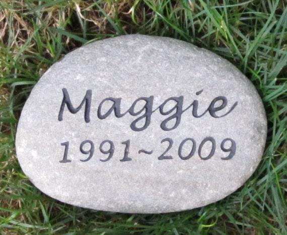 Pet Memorial Headstone Grave Marker Engraved Sandblasted River Stone for Dog Cat Pet 8-9 Inch Memorial Burial Pet Stone Gravestone Marker