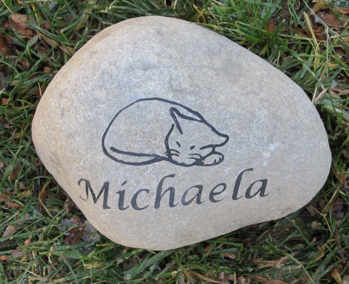 Personalized Cat Memorial Stone Engraved Rock Grave Marker 7 8