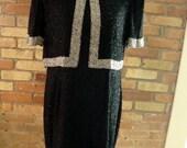 1940s or 1950s Black Silk Beaded Dress