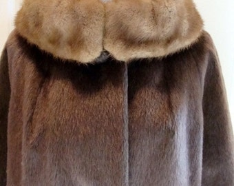 Faux Mink Swing Style Vintage Coat with Real Mink Collar