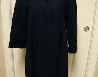 Vintage Wool Coat with Velveteen Trim
